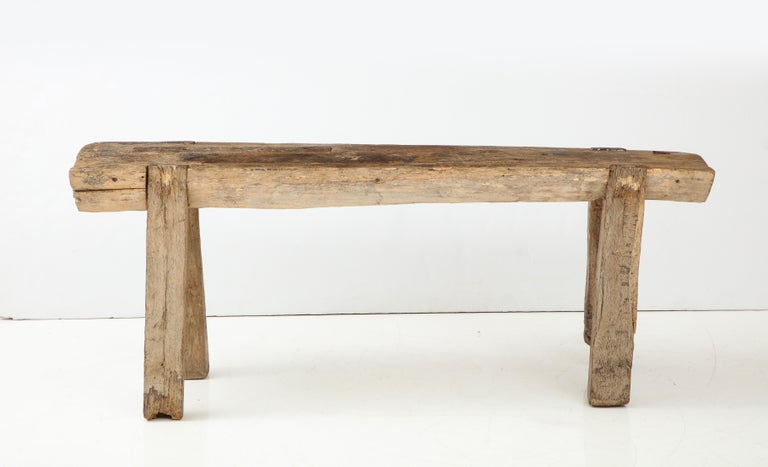 French Carpenters Workbench / Primitive console, circa 1900 Elm and forged iron  Beautiful animation in the legs Great natural color and patina.