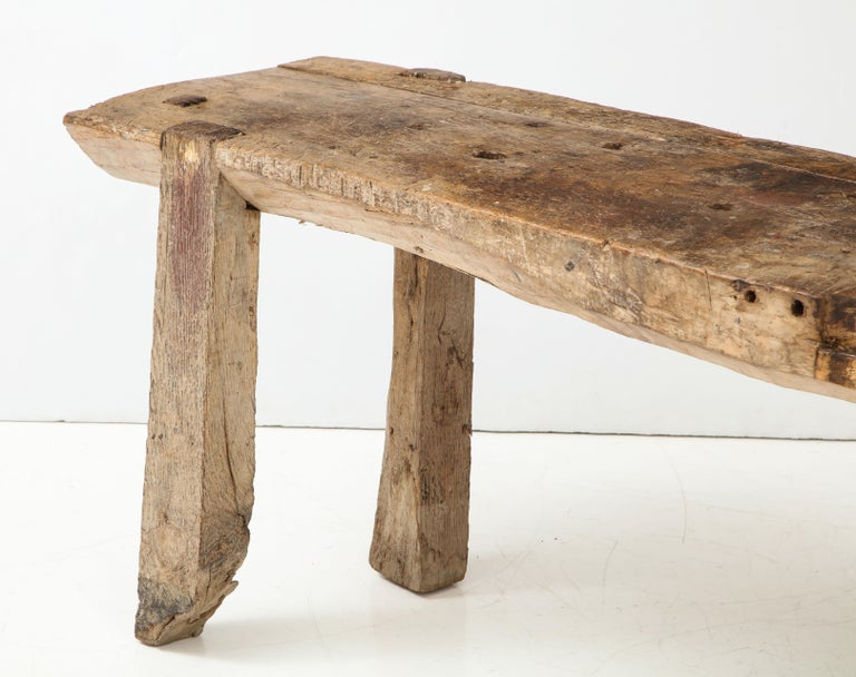 Primitive Console/Workbench, France, circa 1900 In Fair Condition For Sale In Brooklyn, NY