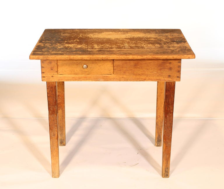 American Primitive / Country Style Wooden School Desk / Table For Sale