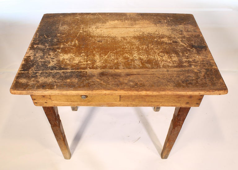 20th Century Primitive / Country Style Wooden School Desk / Table For Sale