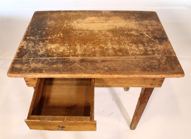 Metal Primitive / Country Style Wooden School Desk / Table For Sale