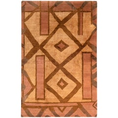 Primitive Cubist Style Rug Beige-Brown and Pink Wool-Silk Rug by Rug & Kilim
