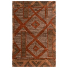 Primitive Cubist Style Rug Gray Brown Wool-Silk Rug by Rug & Kilim