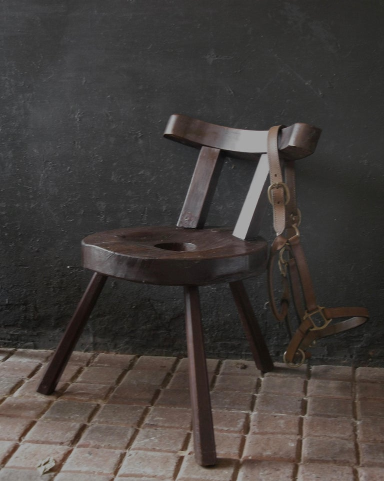 A very special and very unique small Primitive rustic chair, working chair, wood, country style, origin England. Lovely to complement in a sitting room close to a fire place, or in a hall, your barn?  Very nice and comfortable to sit on to