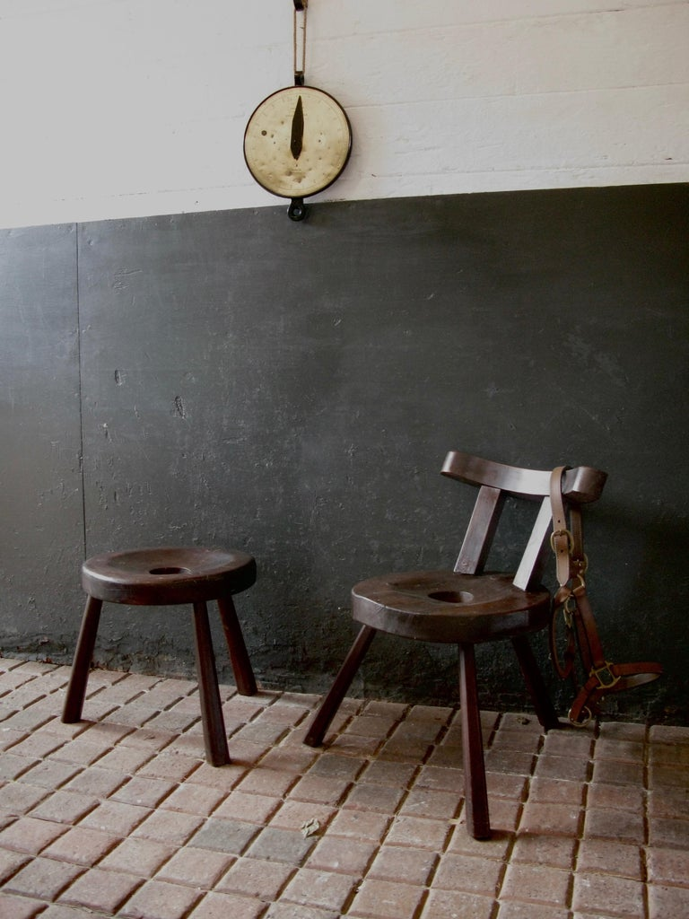 British Primitive Design, Country Style, Chair, Art, Working Chair, Wine, Stool For Sale