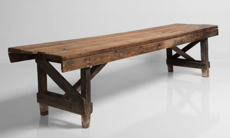 Primitive dining table, France, 19th century.