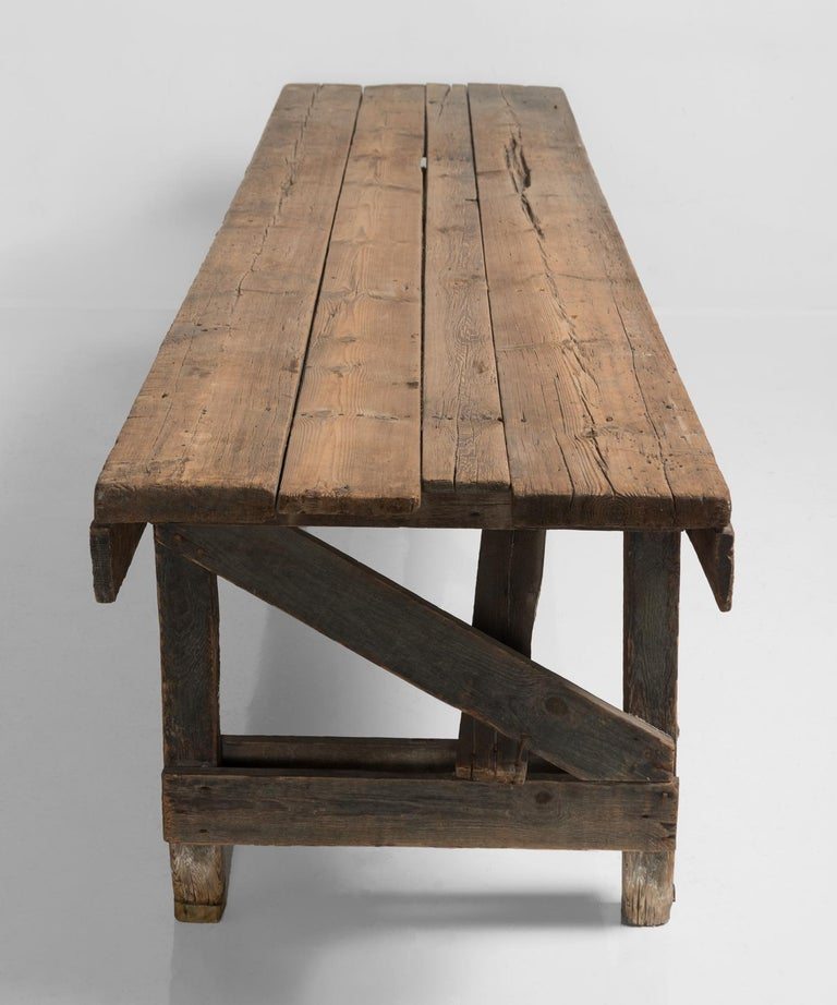 French Primitive Dining Table, France, 19th Century For Sale