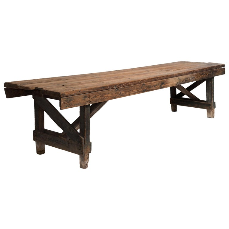 Primitive Dining Table, France, 19th Century For Sale
