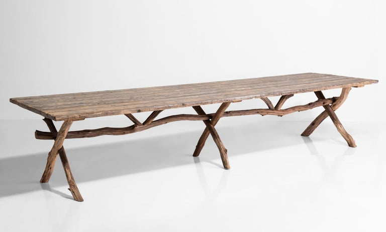 Primitive dining table, France, circa 1900.