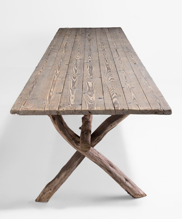 Primitive Dining Table, France, circa 1900 In Good Condition For Sale In Culver City, CA