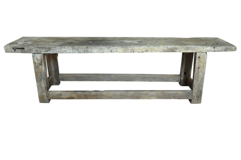 A wonderful early 19th century Etabli - Work Bench from the Catalan region of Spain. Soundly constructed from very thick planks of beech . Perfect as a console table for any casual interior, for a porch or as a potting table.