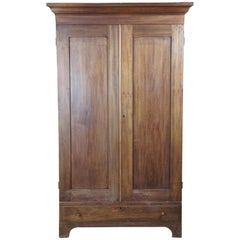 Primitive Early American Walnut Clothing Armoire Wardrobe Closet Linen Press
