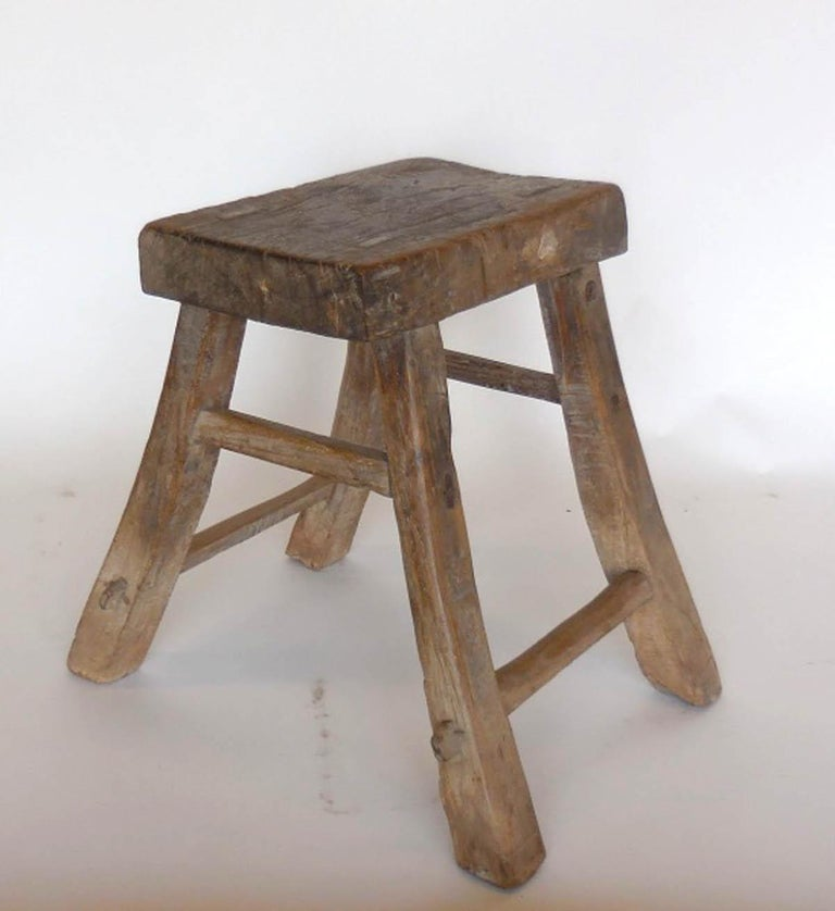 Chinese Primitive Elm Stool For Sale