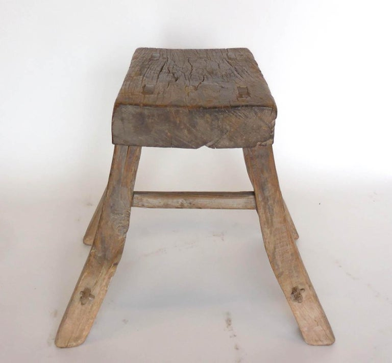 Primitive Elm Stool In Fair Condition For Sale In Los Angeles, CA