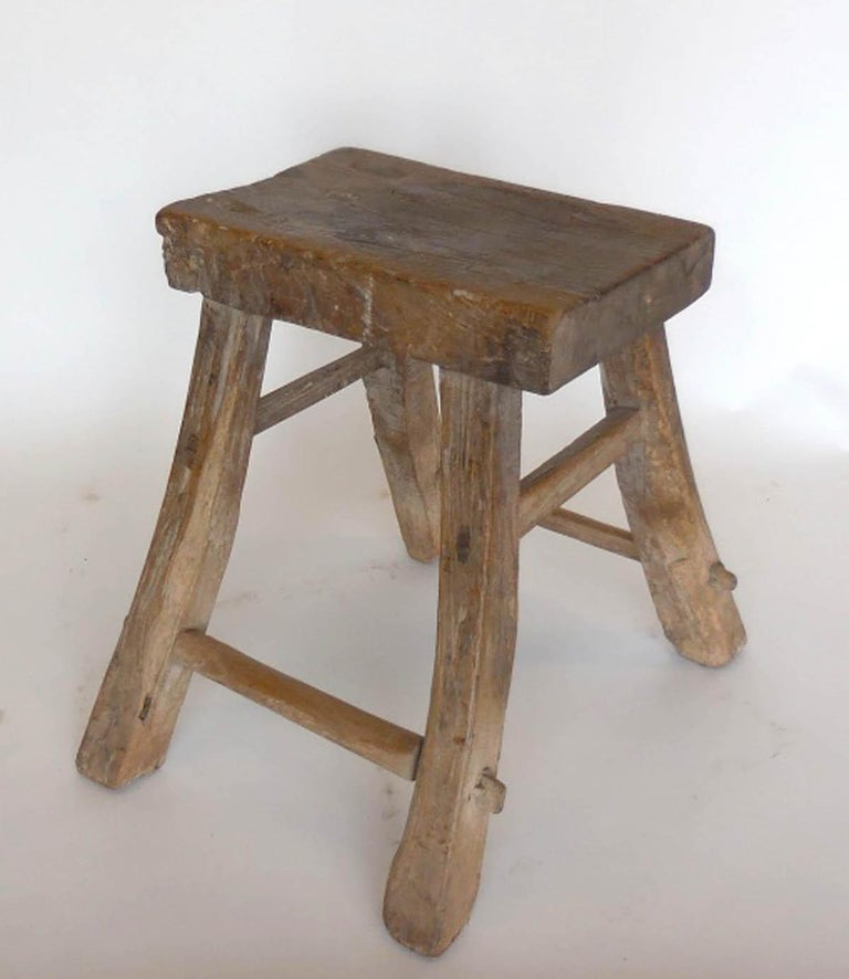 Primitive Elm Stool For Sale 4
