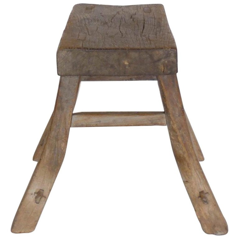 Primitive Elm Stool For Sale
