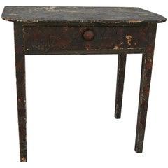 Primitive Folk Art Decoupage Work Table, 19th Century