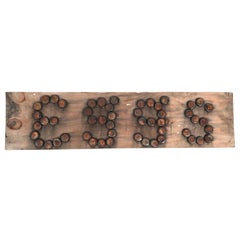 Primitive Folk Art Eggs Sign Made with Bottle Caps