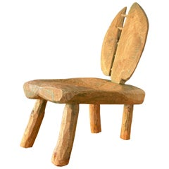 Primitive Freeform Lounge Chair, Sculpted Painted Wood, Sweden, circa 1960