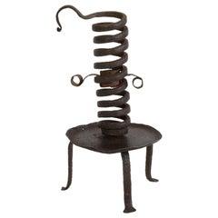 Primitive French 18th Century Rat De Cave Candleholder