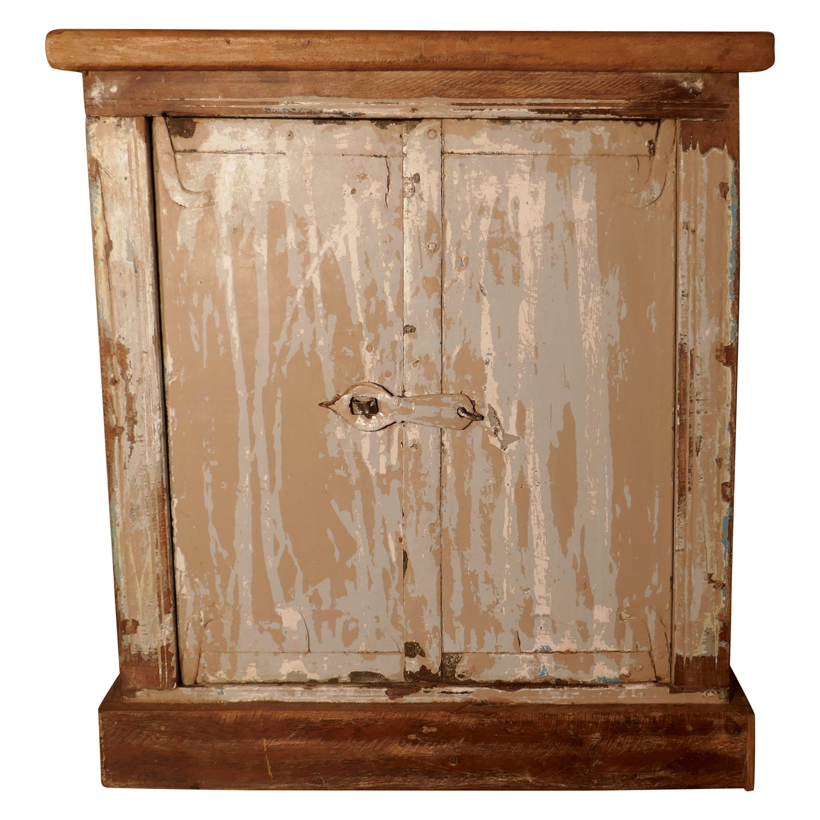 Primitive French Rustic 2-Door Cupboard with Distressed Worn Paint