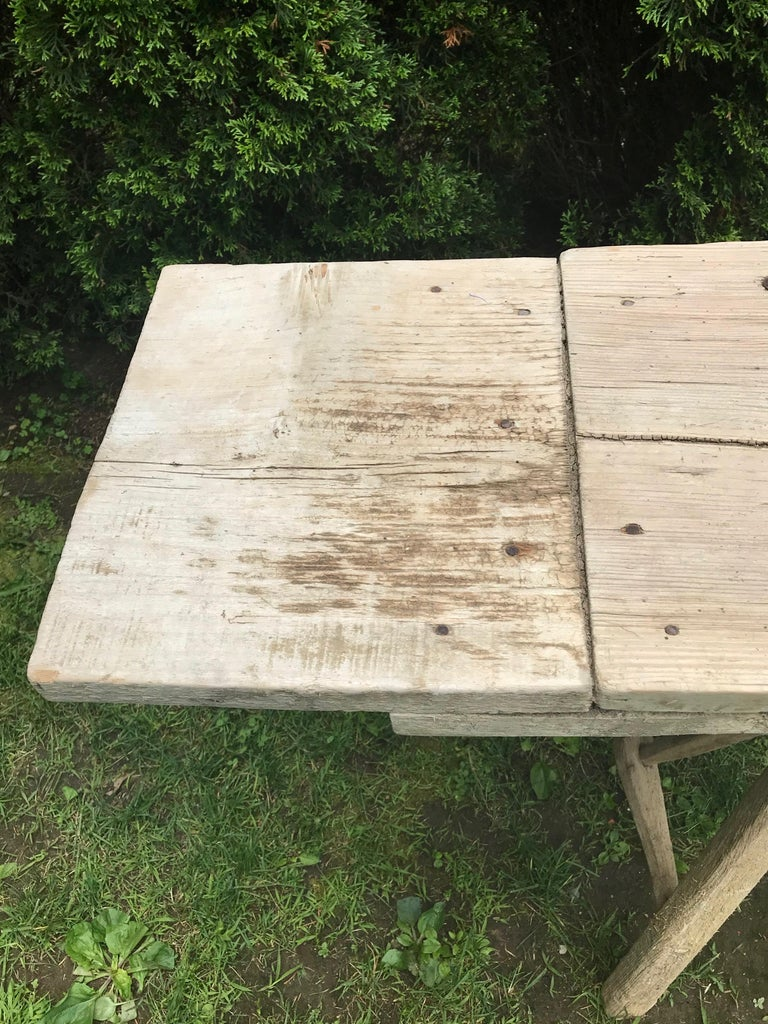 Primitive French Washerwoman's Console Table in Pine 7