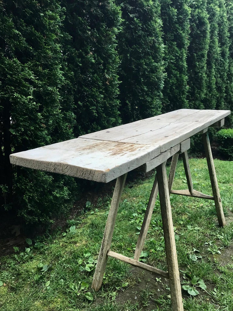 Rustic Primitive French Washerwoman's Console Table in Pine