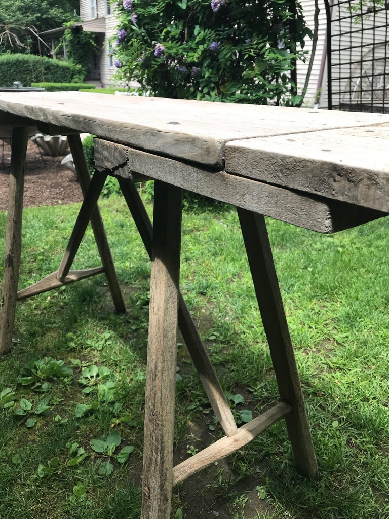 Hand-Crafted Primitive French Washerwoman's Console Table in Pine
