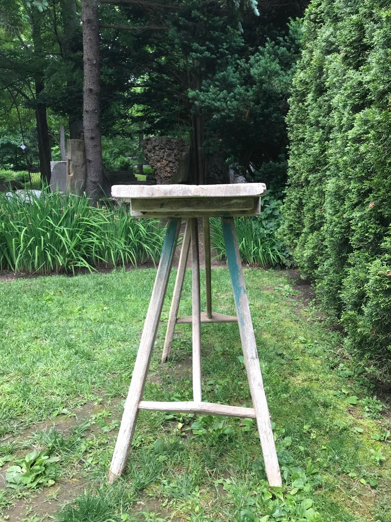 Primitive French Washerwoman's Console Table in Pine In Good Condition In Woodbury, CT