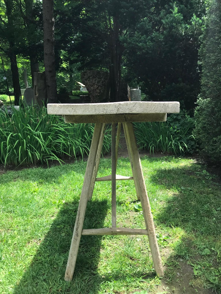 Primitive French Washerwoman's Console Table in Pine 1
