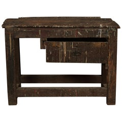 Primitive French Work Console Table, circa 1940