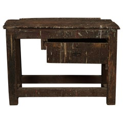 Primitive French Work Console Table In Pine, circa 1940