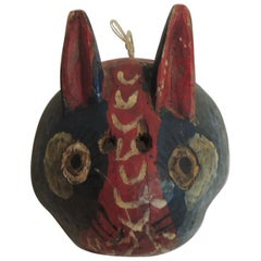 Primitive Hand-Carved Hanging Artisanal Mask of a Rabbit or Jaguar