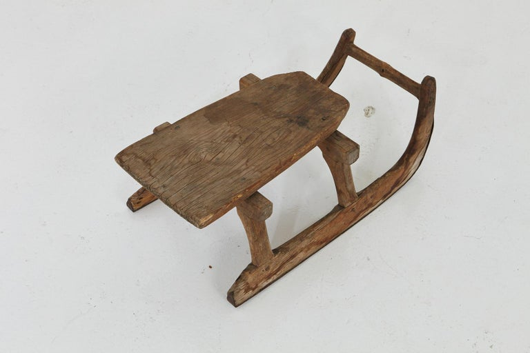 American Primitive Hand Carved Wooden Sleigh for One Person, circa 19th Century For Sale