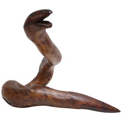 Primitive Hand-Carved Wooden Snake