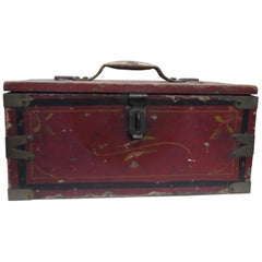 Primitive Hand Painted Wooden Tool Box
