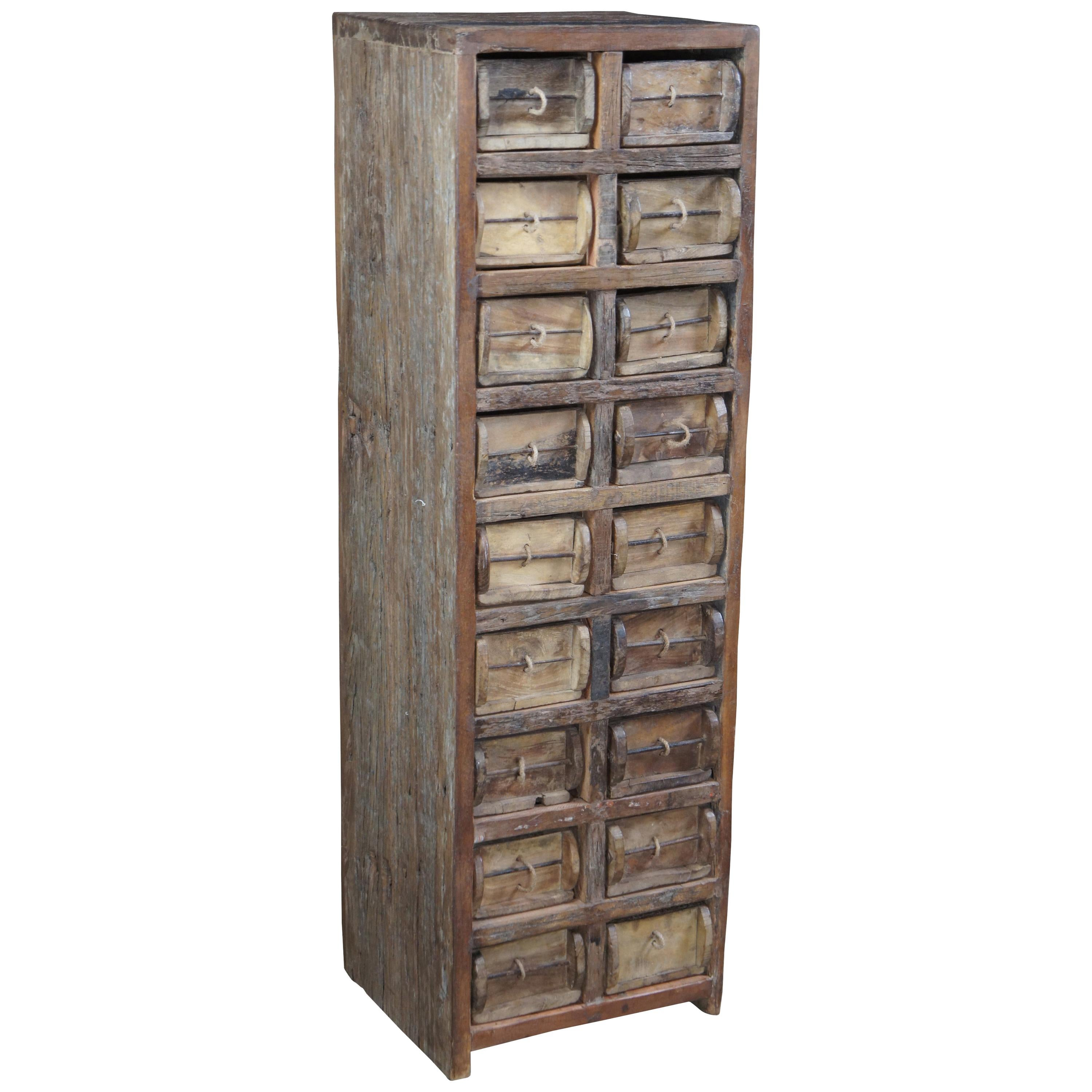Primitive Hardwood Apothecary Cabinet Hardware Chest File Tool Drawer Pharmacy
