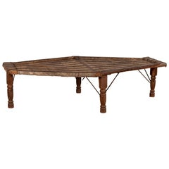 Indian Bullock Cart Coffee Table with Metal Braces and Turned Legs