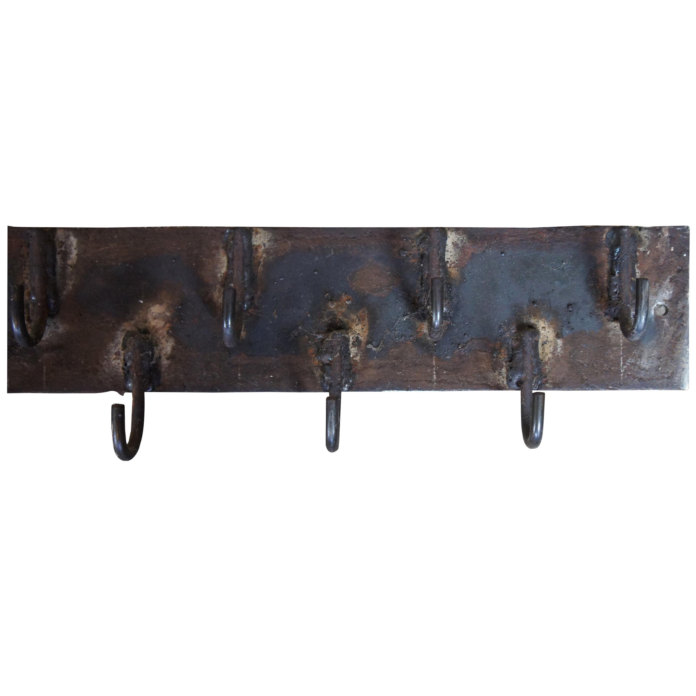 Primitive Industrial Iron Pot Hanging Butcher Rack Coat Hat Hall Tree Farmhouse