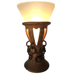 Primitive Iron and Clay Torchiere Table Lamp with Frosted Shade