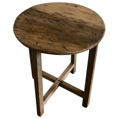 Primitive Japanese Wooden Top Table in Brown