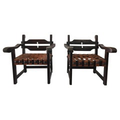 Pair of Mexican Wood Carved Armchairs with Leather Strap Seats
