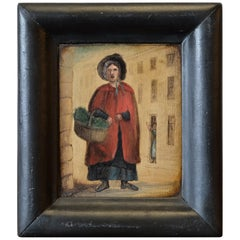 Primitive Naive Welsh Small Oil Painting, Folk Art