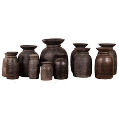 Nepalese Rustic Wooden Ghee Pots Sold in Sets of Three or Five