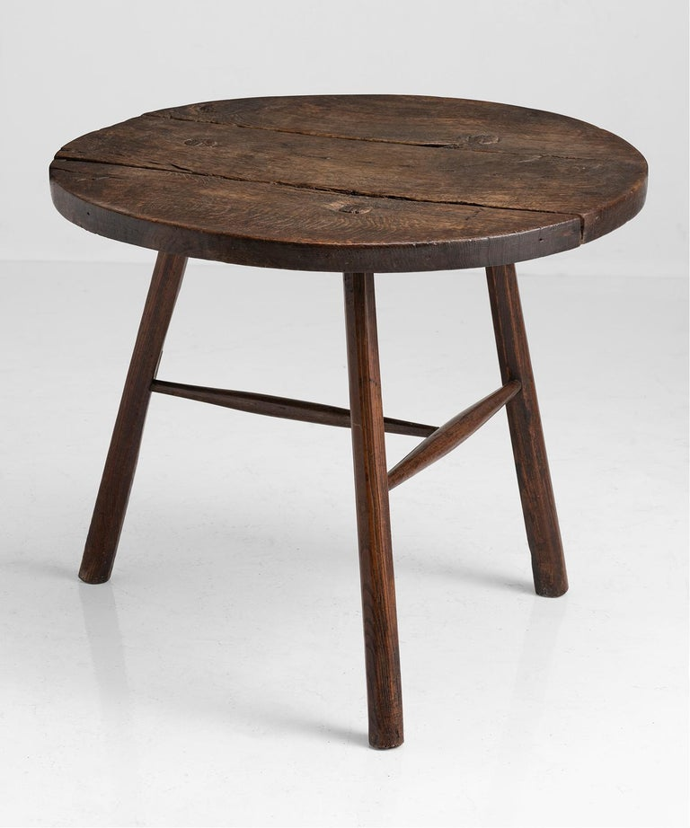 English Primitive Oak and Ash Cricket Table For Sale