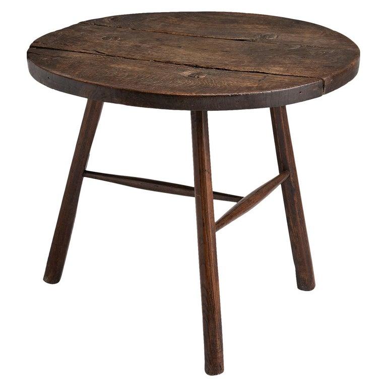 Primitive Oak and Ash Cricket Table For Sale