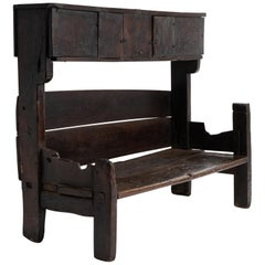 Primitive Oak Bench, France, 19th Century