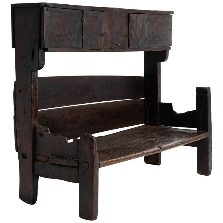 Primitive Oak Bench, France, 19th Century For Sale