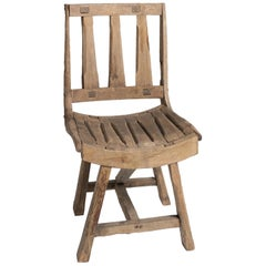 Primitive Oak Chair, France, 20th Century