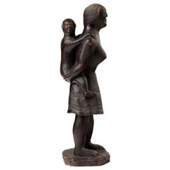 Primitive Oceanic Hand Carved Wooden Sculpture of a Mother and Child
